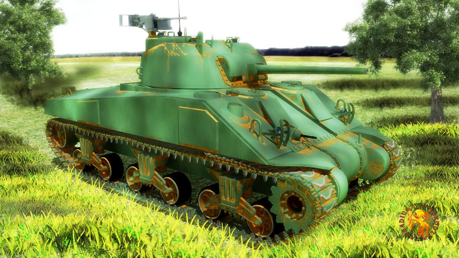 sherman M4 HP royalty-free 3d model - Preview no. 2