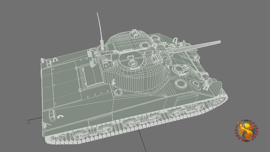 sherman M4 HP royalty-free 3d model - Preview no. 6