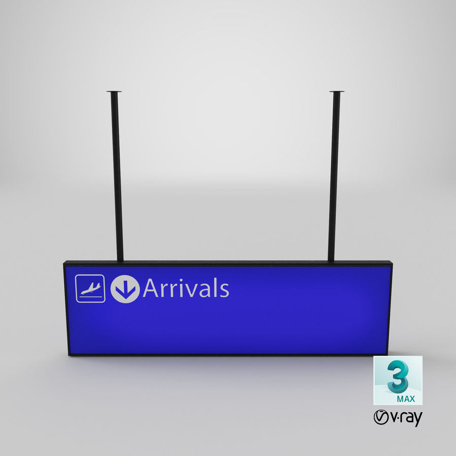 Luchthaven aankomst teken royalty-free 3d model - Preview no. 13