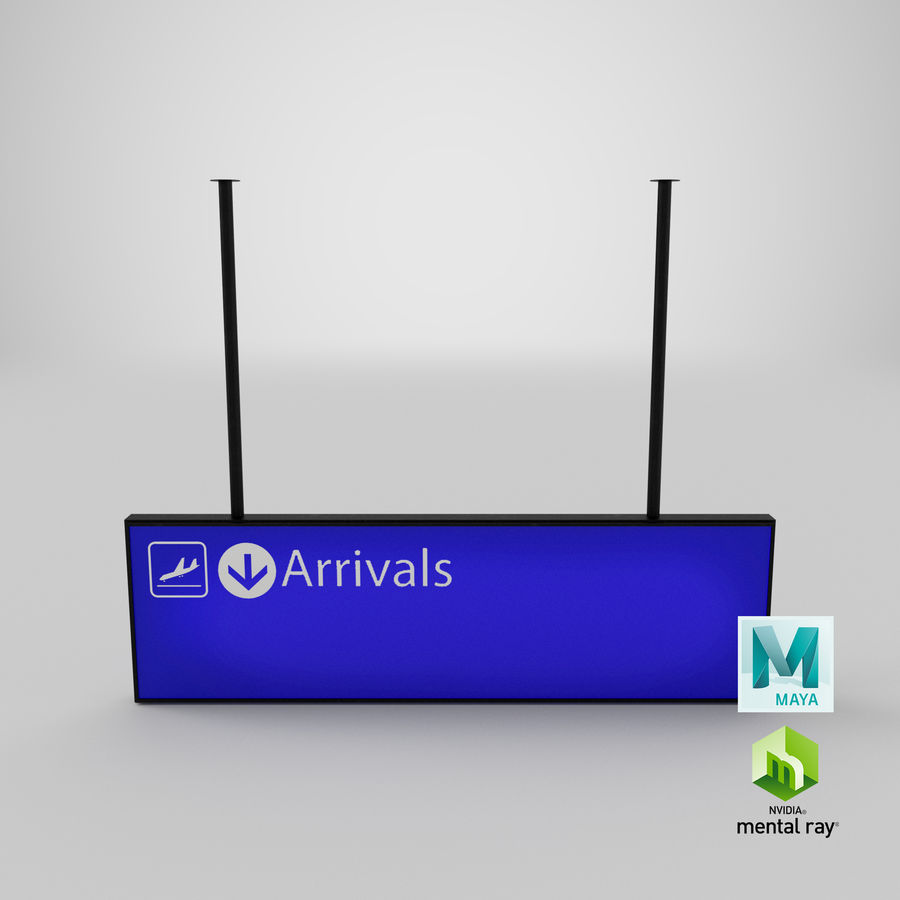 Luchthaven aankomst teken royalty-free 3d model - Preview no. 12