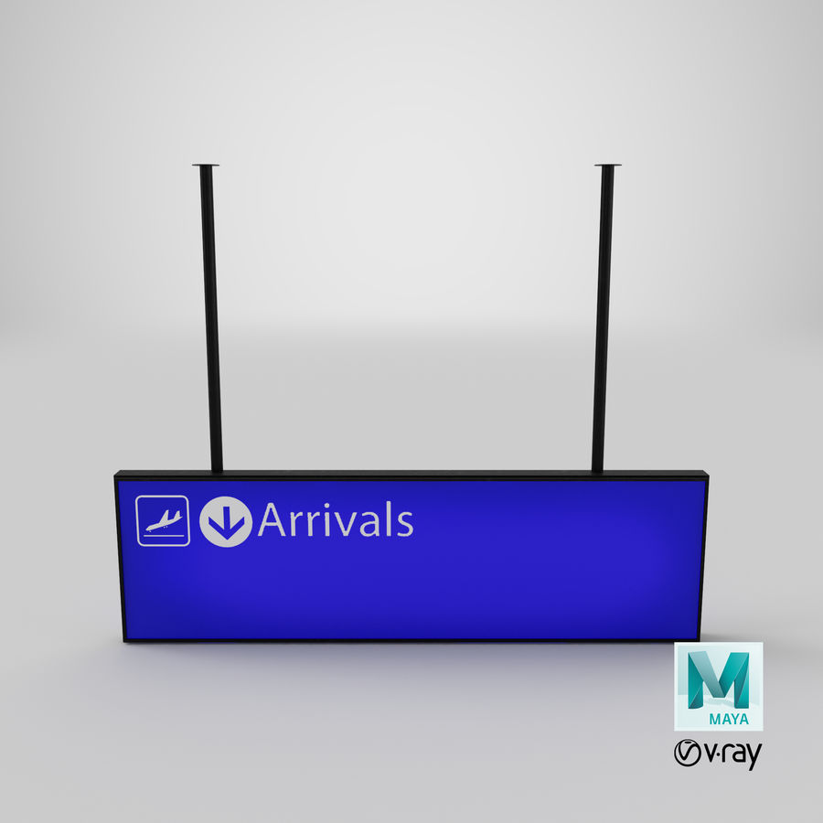 Luchthaven aankomst teken royalty-free 3d model - Preview no. 11