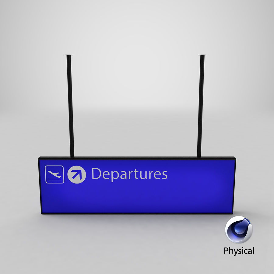 Luchthaven vertrek teken royalty-free 3d model - Preview no. 15