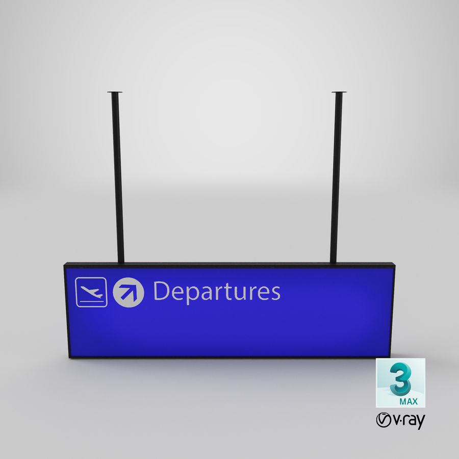 Luchthaven vertrek teken royalty-free 3d model - Preview no. 13