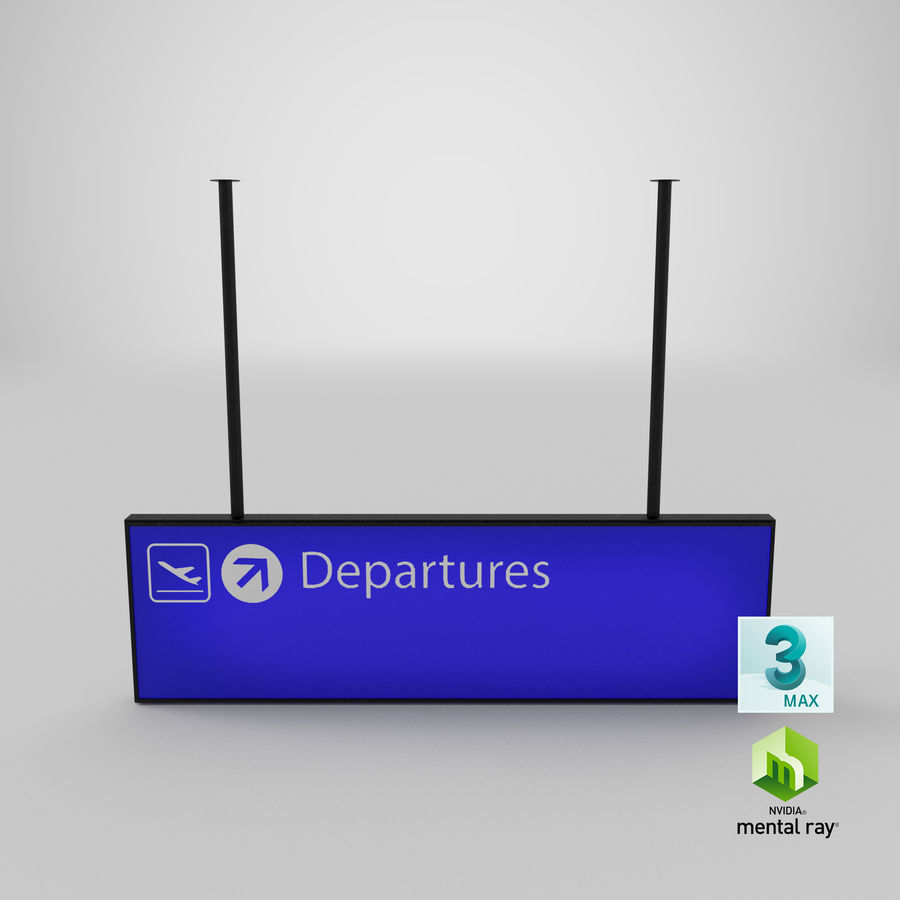 Luchthaven vertrek teken royalty-free 3d model - Preview no. 14