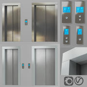 Doors with lining and post call of the elevator 3d model