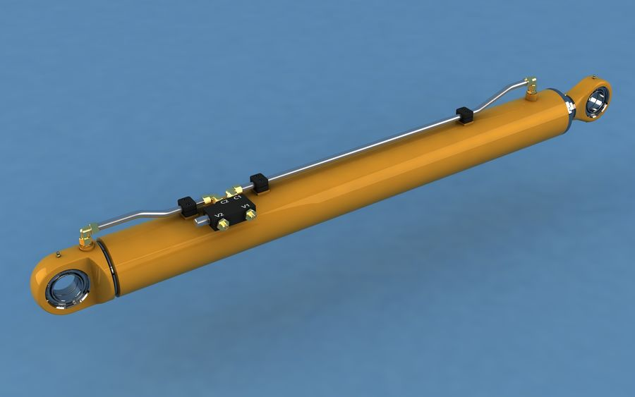 Cylinder hydrauliczny royalty-free 3d model - Preview no. 1