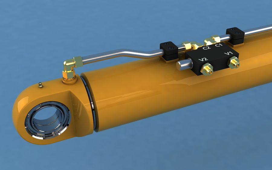 Cylinder hydrauliczny royalty-free 3d model - Preview no. 3