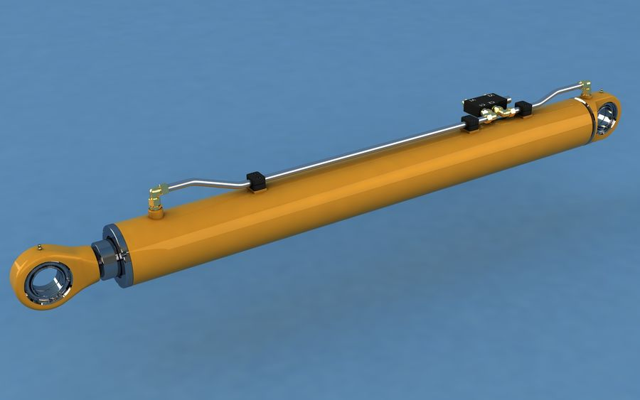 Cylinder hydrauliczny royalty-free 3d model - Preview no. 2