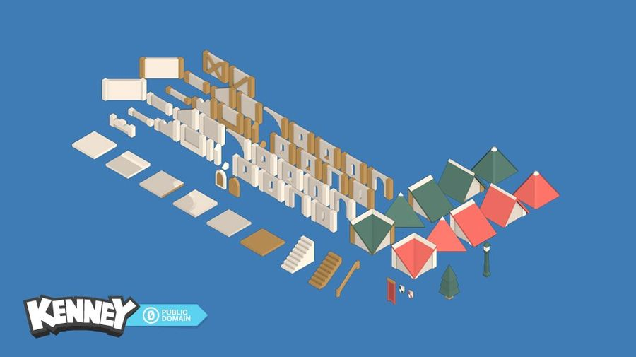 mittelalterliche Stadt Low Poly royalty-free 3d model - Preview no. 2