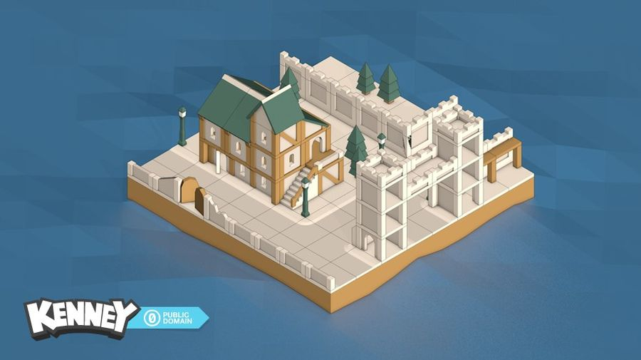 mittelalterliche Stadt Low Poly royalty-free 3d model - Preview no. 1