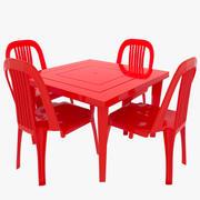 塑料桌椅 3d model