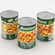 Metelliana Ceci Lessati Chick Peas Food Can 400g 3d model