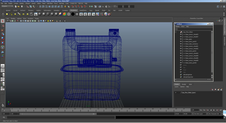 Gas Flow Meter royalty-free 3d model - Preview no. 11