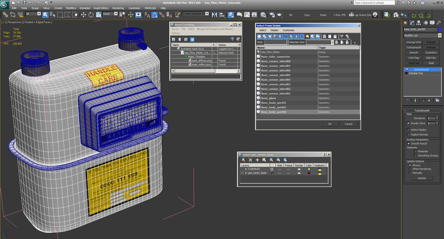Gas Flow Meter royalty-free 3d model - Preview no. 12