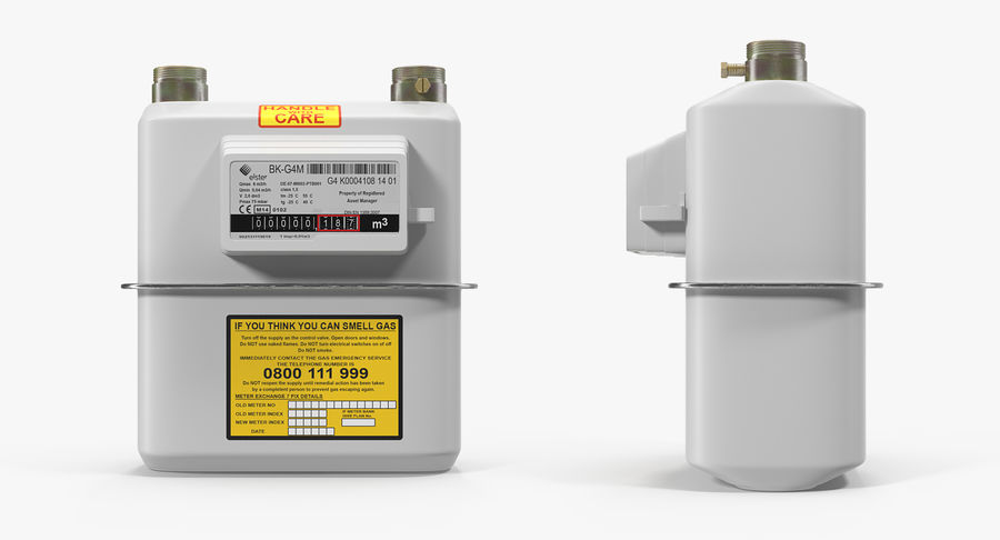 Gas Flow Meter royalty-free 3d model - Preview no. 3