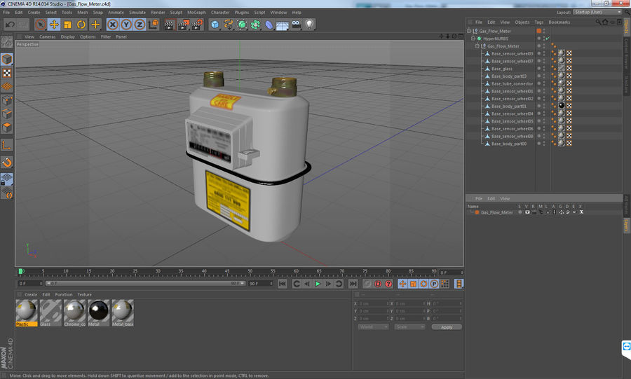 Gas Flow Meter royalty-free 3d model - Preview no. 10