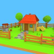 Мультфильм дом с двором 3d model