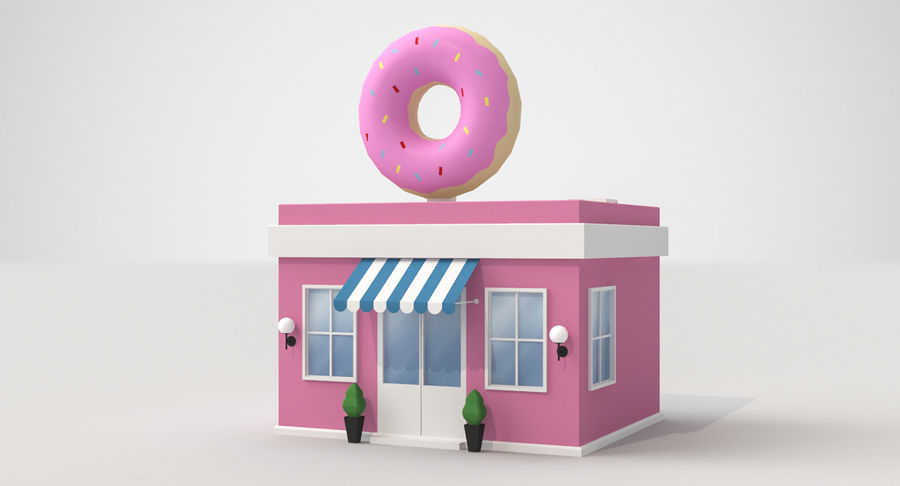 Donuts Shop 3D Model royalty-free 3d model - Preview no. 5