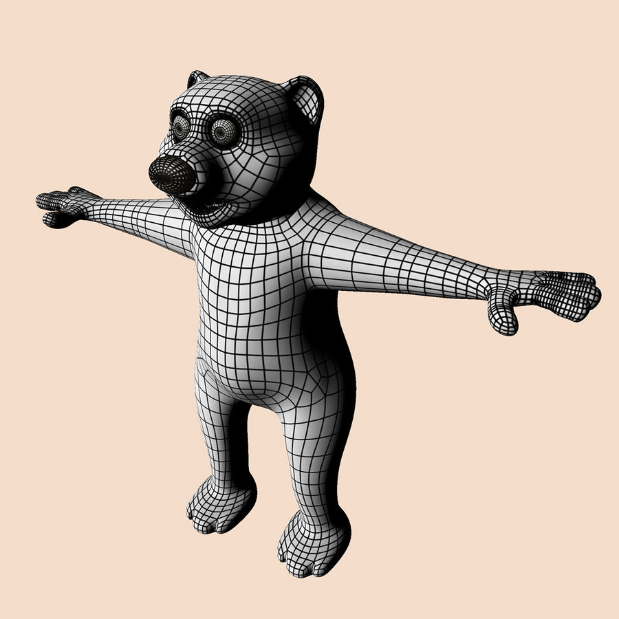 Cartoon Bear royalty-free 3d model - Preview no. 5