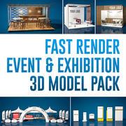 Pack de modèles 3D événement et exposition 3d model
