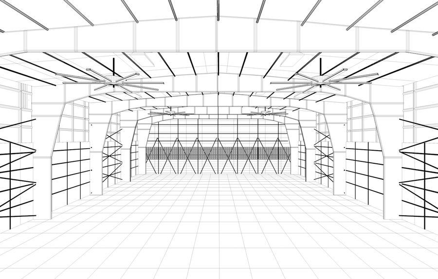 hangar per aereo royalty-free 3d model - Preview no. 5