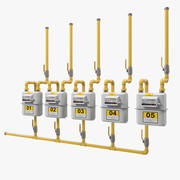 Row of Residential Natural Gas Meters 3D Model 3d model