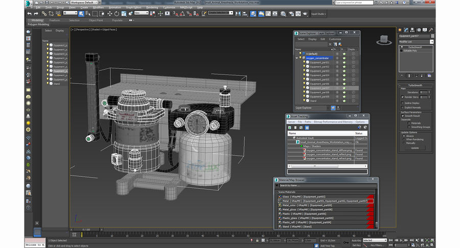 Small Animal Anesthesia Workstation 3D Model royalty-free 3d model - Preview no. 15