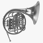 Profesjonalny model 3D Double French Horn Silver 3d model