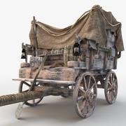 Старая тележка / Деревянная тележка 3d model