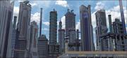 Sci-Fi City Landscape 3d model