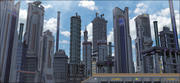 サイエンスフィクションの都市景観 3d model