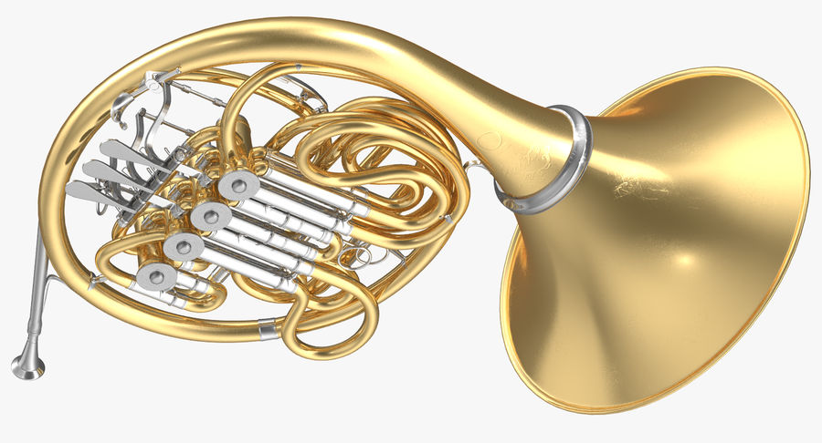 Double French Horn royalty-free 3d model - Preview no. 5