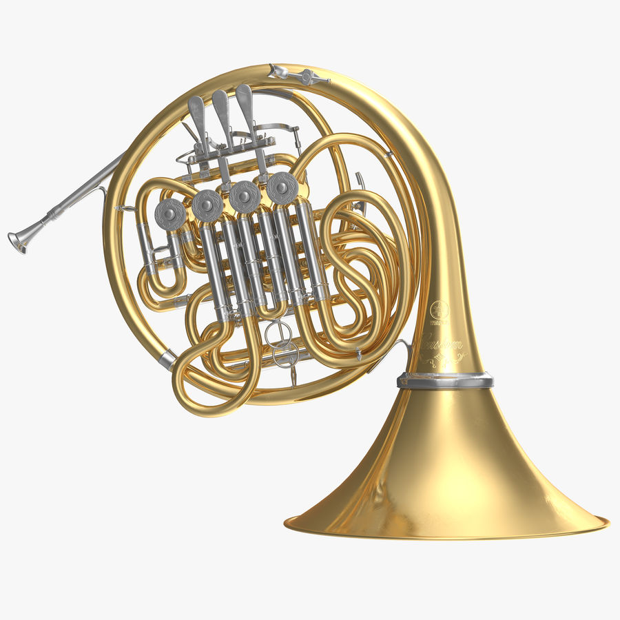 Double French Horn royalty-free 3d model - Preview no. 1