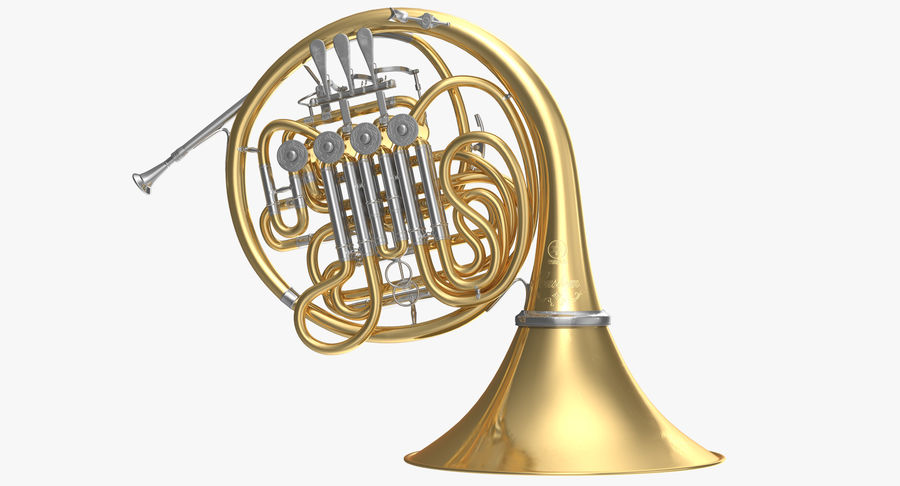 Double French Horn royalty-free 3d model - Preview no. 2