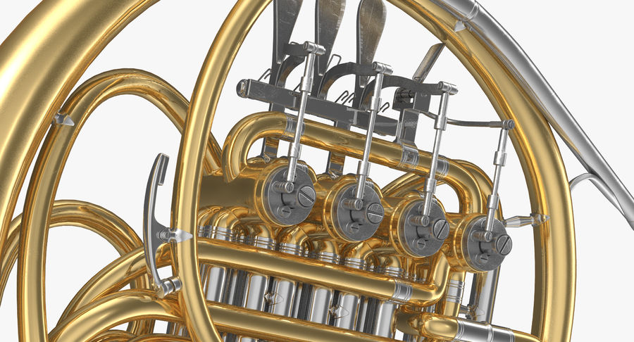 Double French Horn royalty-free 3d model - Preview no. 7