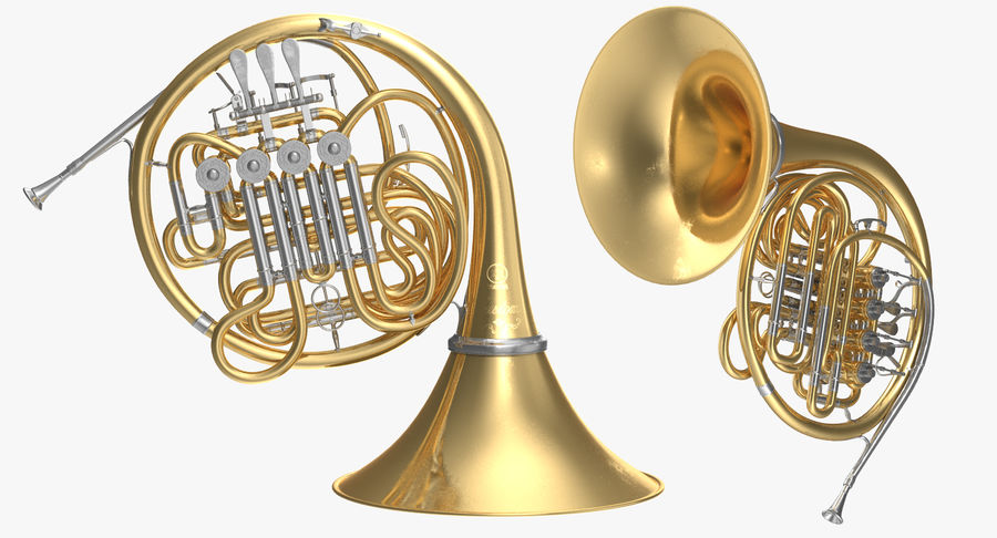Double French Horn royalty-free 3d model - Preview no. 3
