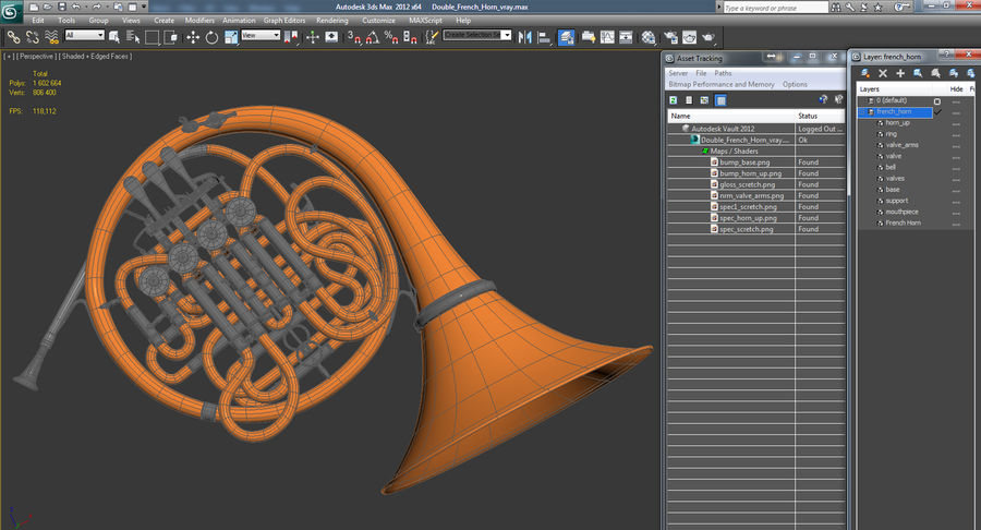 Double French Horn royalty-free 3d model - Preview no. 15