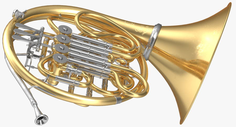 Double French Horn royalty-free 3d model - Preview no. 6