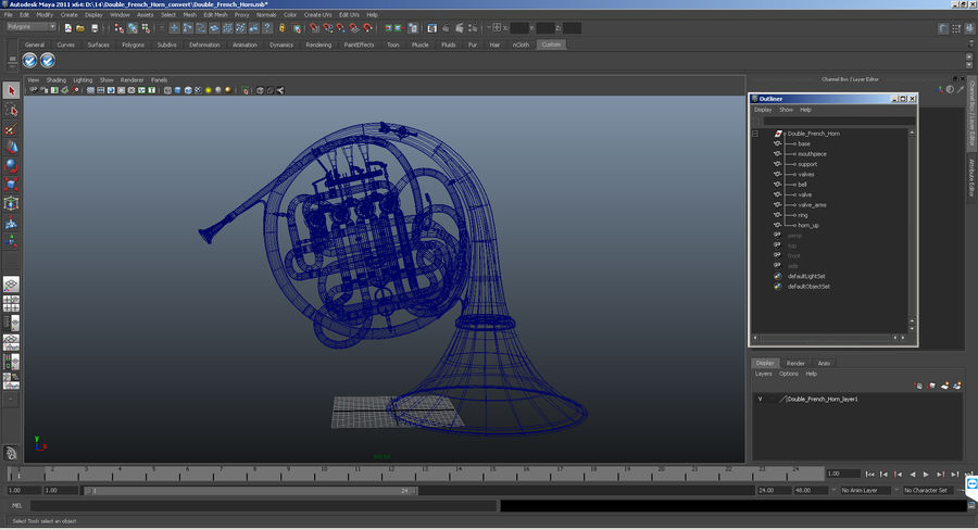 Double French Horn royalty-free 3d model - Preview no. 14