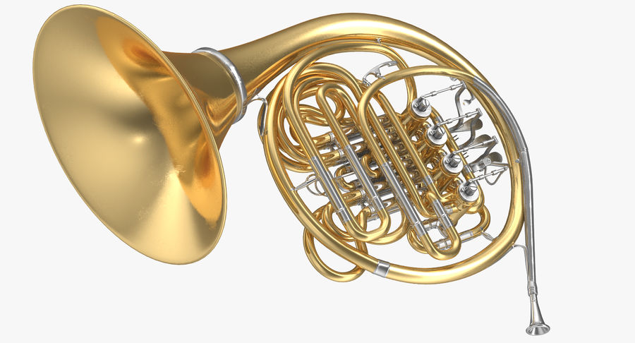 Double French Horn royalty-free 3d model - Preview no. 4