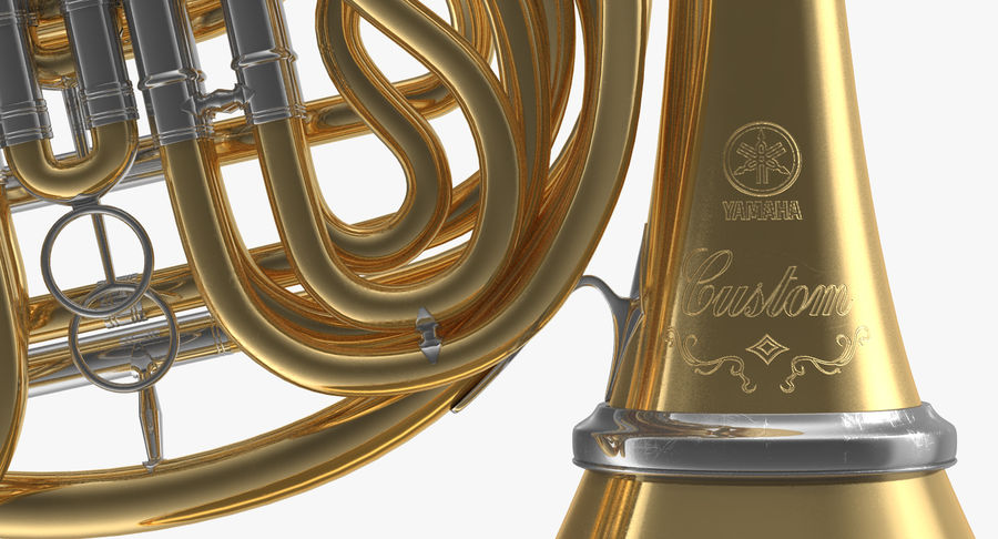 Double French Horn royalty-free 3d model - Preview no. 8