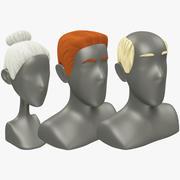 Polygonal Hairstyles Set 3d model