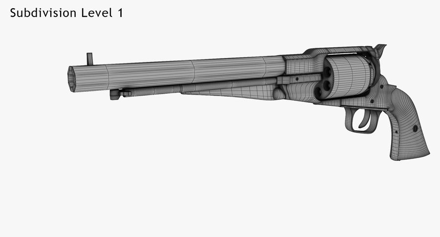 Revington Navy Revolver Model 1863 royalty-free 3d model - Preview no. 10
