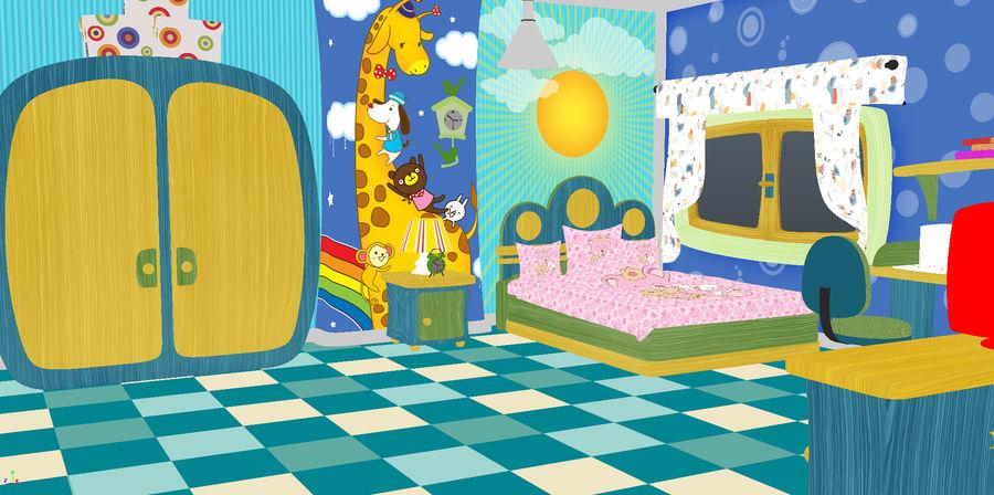 Çizgi film çocuk odası iç royalty-free 3d model - Preview no. 3