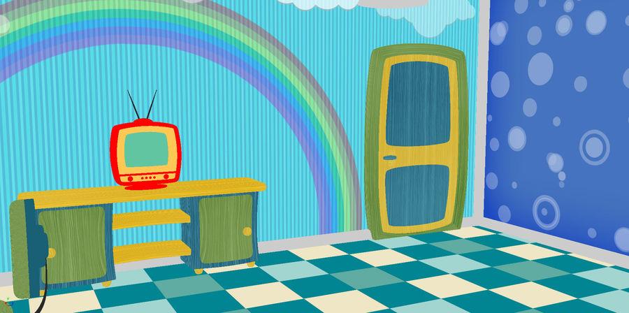 Çizgi film çocuk odası iç royalty-free 3d model - Preview no. 18