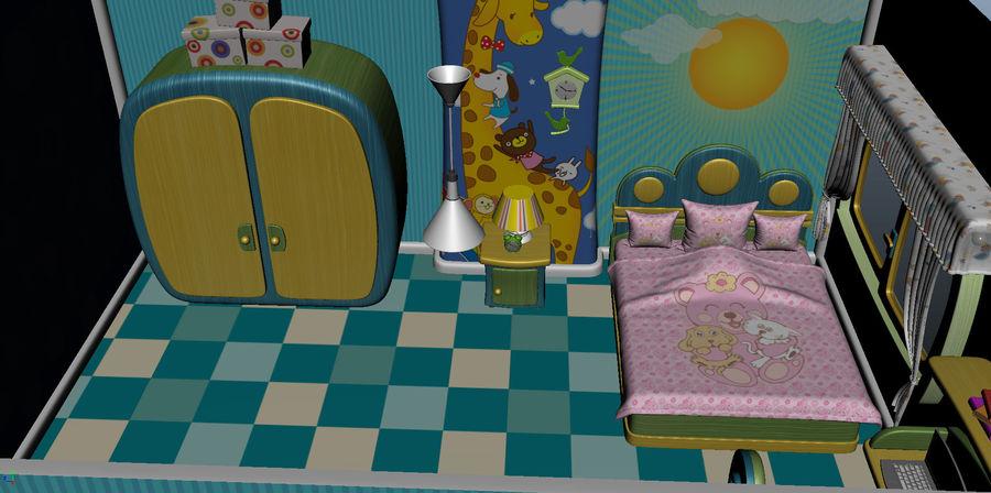 Çizgi film çocuk odası iç royalty-free 3d model - Preview no. 9