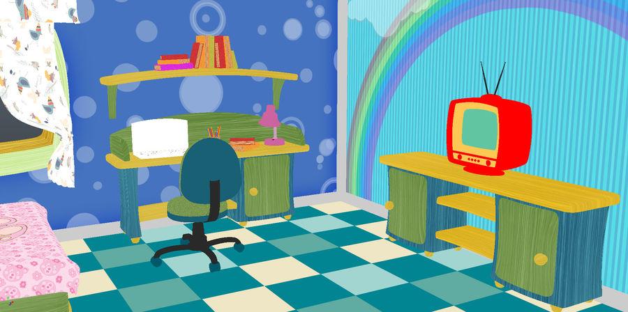 Çizgi film çocuk odası iç royalty-free 3d model - Preview no. 6