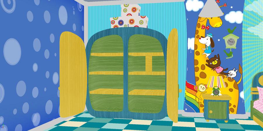 Çizgi film çocuk odası iç royalty-free 3d model - Preview no. 26