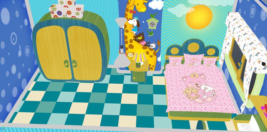 Çizgi film çocuk odası iç royalty-free 3d model - Preview no. 10
