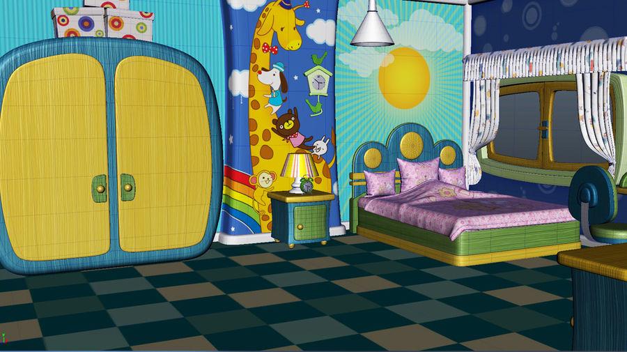 Çizgi film çocuk odası iç royalty-free 3d model - Preview no. 1